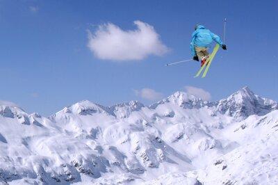 Poster Jumping Skifahrer