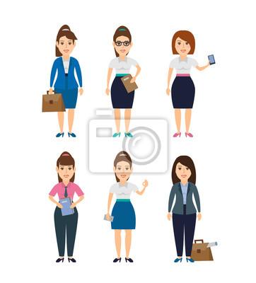 Poster Junge Geschäftsfrau Zeichen gesetzt isoliert auf weißem Hintergrund