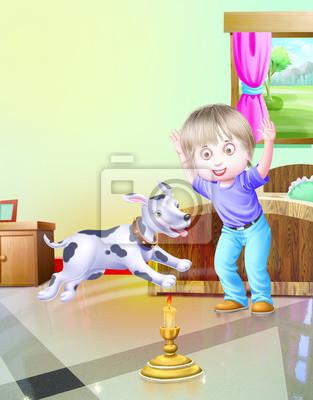 Junge mit hund im schlafzimmer wandposter • poster Schemel, Kissen ...