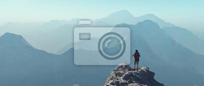 Poster Junger Mann den Berg hinauf
