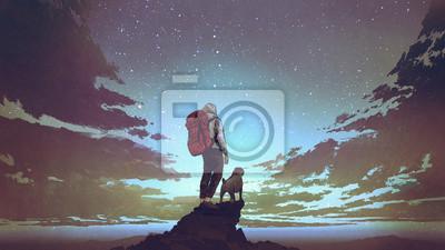 Poster junger Wanderer mit Rucksack und ein Hund, der auf dem Felsen steht und Sterne im nächtlichen Himmel, digitale Kunstart, Illustrationsmalerei betrachtet