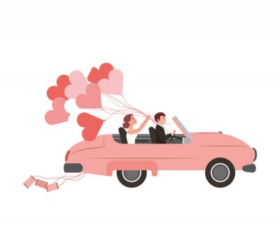just married couple in car and balloon helium with shape heart