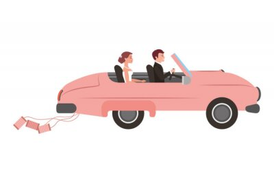 just married couple in car isolated icon