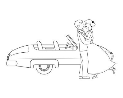 just married couple with car isolated icon