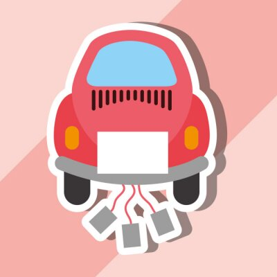just married on car with cans cartoon vector illustration