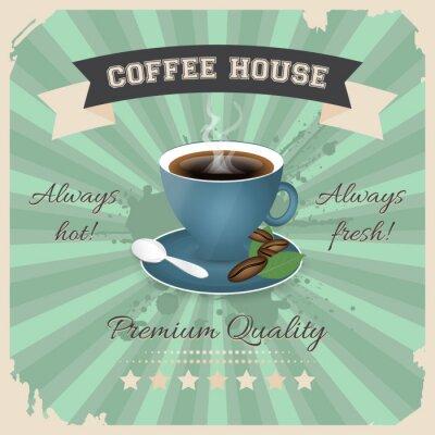 Poster Kaffee-Hausplakatentwurf mit Tasse Kaffee im Retro- Art.