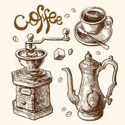 Poster Kaffee-Skizze-Abbildung