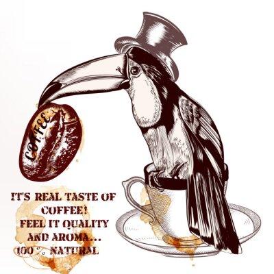 Poster Kaffee Vektor Hintergrund oder Poster mit Hand gezeichnet Tukan Vogel h