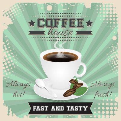 Poster Kaffeehaus grunge Plakatentwurf mit Halbtonwirkung. Kaffeetasse, Löffel, Kaffeebohnen, Platte, Blätter und Dampf.