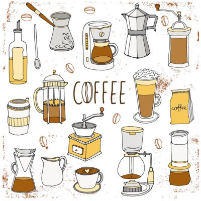 Poster Kaffeesatz. Hand gezeichnet Ansammlung