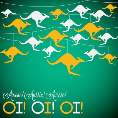 Poster Kangaroo Ornament Australien Tag Karte im Vektor-Format.