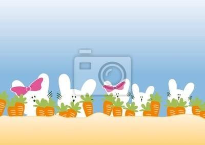 Kaninchen Familie mit Möhren