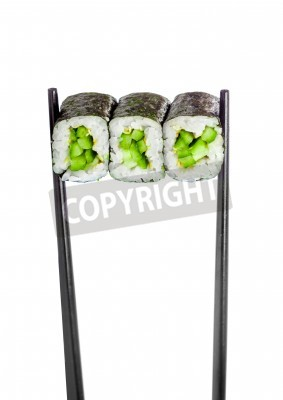 Poster Kappa maki roll. Sushi Roll on a white background