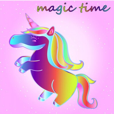 Poster Karikatur-Neon-Einhorn mit Sternen auf einem rosa Steigungshintergrund - eine Zeit des Abenteuers und eine Zeit der Magie