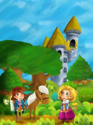 Poster Karikatur Wald Szene mit Prinz mit seinem Pferd und Prinzessin stehend und reden auf dem Weg in der Nähe Schloss Turm