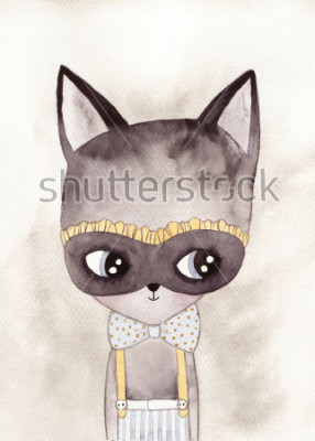 Poster Karneval Katze Aquarell Zeichnung