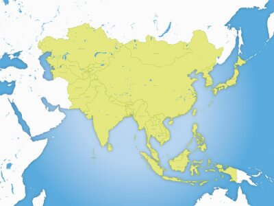 Poster Karte asie, frontières et fleuve