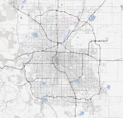 Poster Karte Denver Stadt. Colorado Straßen