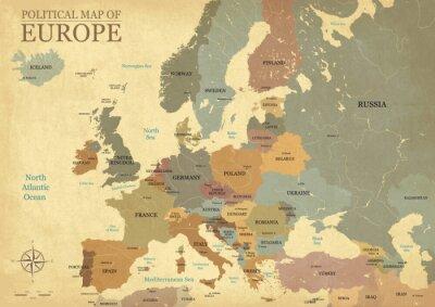Poster Karte von Europa mit Großbuchstaben - Vintage Textur - Englisch / US-Sprache - Vector CMYK