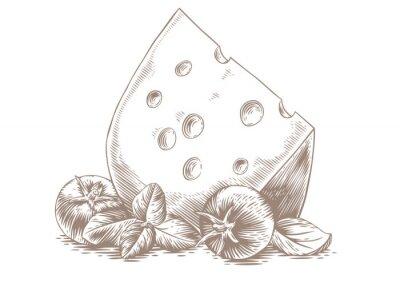 Poster Käse mit Gemüse