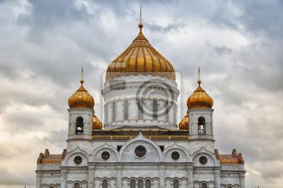 Kathedrale von Christus dem Erlöser, Moskau mit bewölktem Himmel im Herbst