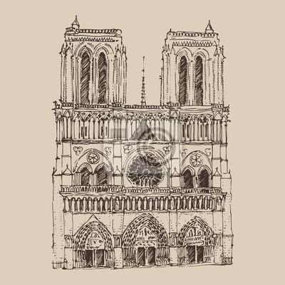 Kathedrale von Notre Dame de Paris eingraviert Darstellung