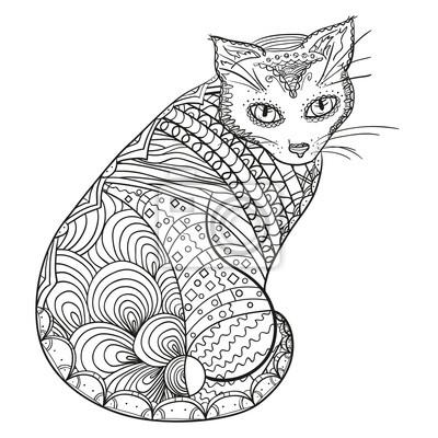 Poster Katze Design Zentangle Hand Gezeichnetes Tier Mit Abstrakten