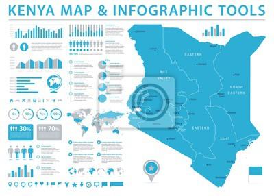 Poster Kenia Map - Info-grafische Vektor-Illustration