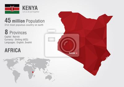 Poster Kenia Weltkarte mit einem Pixel-Diamant-Struktur.