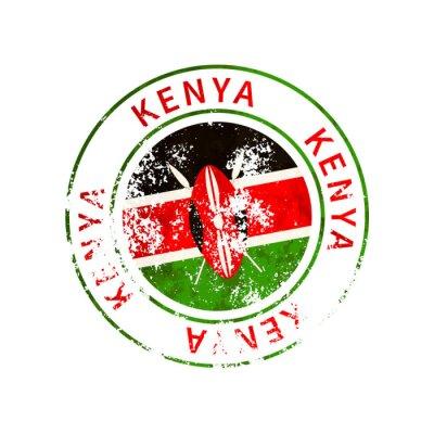 Poster Kenya sign, vintage grunge imprint with flag on white