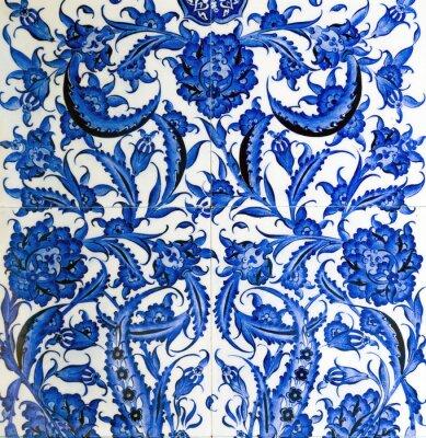 Keramik Dekor Blume Fliesen Blau Wandposter Poster Osmanischen