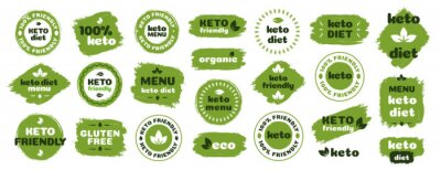 Poster Keto friendly diet nutrition vector badge set on green organic texture isolated on white-ketogenic diet sign, keto diet menu. Vegetables icon eco friendly diet with leaves. 10 eps