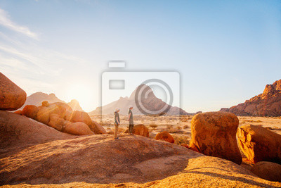 Poster Kids hiking in Spitzkoppe Namibia