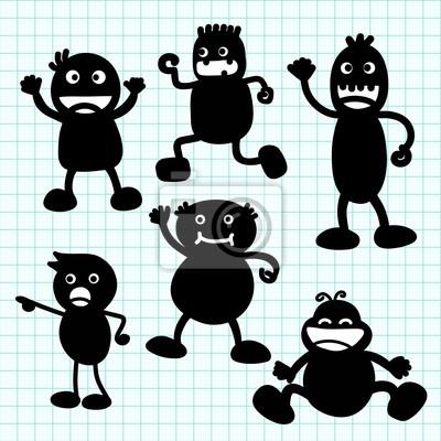 Kids Silhouette Handschrift Karikatur. Illustration
