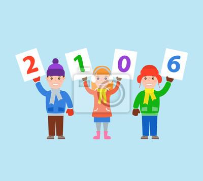 Poster Kinder im Winter Kleidung halten Zahlen 2016. Frohes neues Jahr
