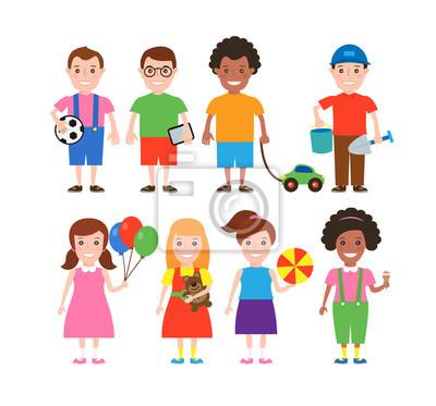 Poster Kinder mit Spielzeug isoliert auf weißem Hintergrund