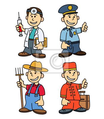 Poster Kinder professions.cartoon Vektor gesetzt