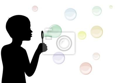 Kinder-Silhouette mit Seifenblasen