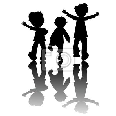 Kinder Silhouetten auf weißem Hintergrund