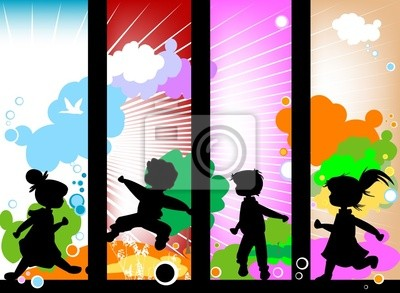 Kinder Silhouetten gegen einen sonnigen Himmel