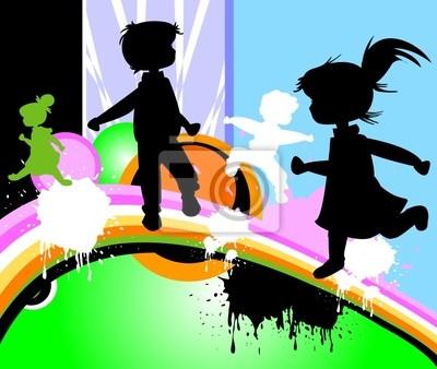 Kinder Silhouetten laufen und springen