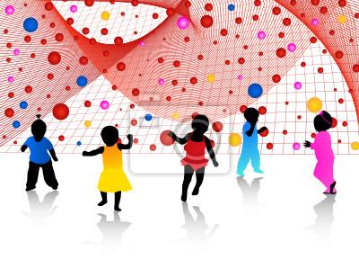 Kinder Silhouetten und abstrakte