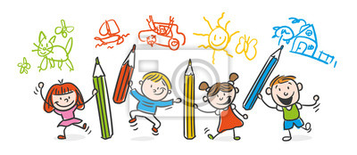 Kinder zeichnen wandposter • poster   myloview.de