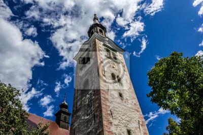 Kirchturm von Wallfahrtskirche Mariä Himmelfahrt, Ble