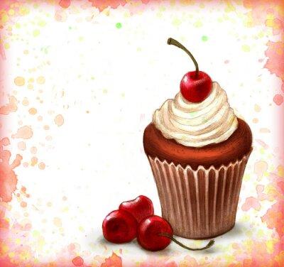 Poster Kirsche Cupcake Schokolade auf Aquarell Hintergrund