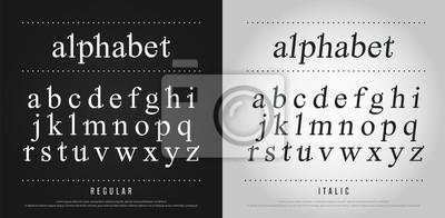 Poster klassische Alphabet Buchstaben gesetzt. Exklusive benutzerdefinierte Buchstaben. Alphabet entwirft für Logo, Plakat, Einladung, usw. Typografieschriftart klassische Art, regelmäßige und Kursivvektoril