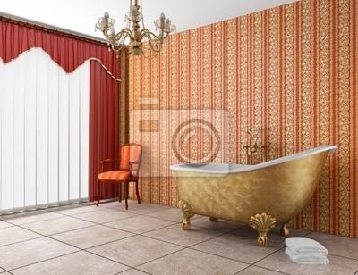Klassische badezimmer mit badewanne und alte rot gestreiften ...
