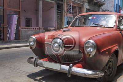 Klassische rote Auto in Havanna, Kuba
