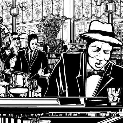 Poster Klavier-Jazz-Band in einem Restaurant