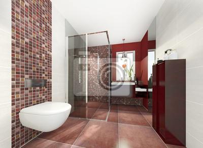 Klein modern bad badezimmer duschbad minibad wandposter • poster ...